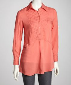 Take a look at this Coral Button Long-Sleeve Top by Simply Irresistible on #zulily today!