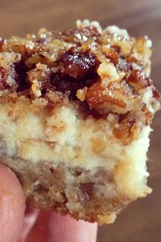 Recipe for Pecan Cheesecake Squares - You can't go wrong with a layer of shortbread, a layer of cheesecake and a layer of pecan pie in every bite!