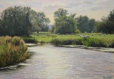 """Dazzling water"" (2011) [Sold] By Peter Barker, from Banbury, Oxfordrshire, England (current location, South Luffenham, England) - oil on board; 12 x 17 in - http://www.peterbarkerpaintings.co.uk/ https://www.facebook.com/PeterBarkerARSMA"