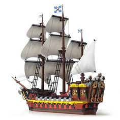 Lego Pirate Ship, Lego Ship, Pirate Ships, Spanish Galleon, Amazing Lego Creations, Lego Ideas, Pirates Of The Caribbean, Sailing Ships, Brick