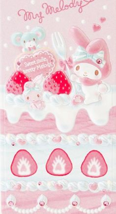 My Melody Happy Birthday, as courtesy of Sanrio My Melody Wallpaper, Sanrio Wallpaper, Sanrio Characters, Cute Characters, Im Falling In Love, Baby Pink Aesthetic, Little Twin Stars, Strawberry Shortcake, Magical Girl