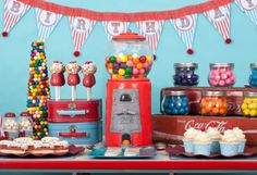 cute Gumball Party by Kara's Party Ideas - the gumball machine in the center of the dessert table is a cake