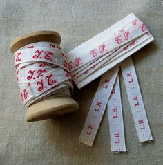Vintage FRENCH LAUNDRY Label Woven Ribbon Trim - F.A. - Monogram Tape Red Script…