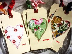 Heart Appliqué Shabby Chic Style by pearliebird on Etsy Applique Shabby, Handmade Tags, Paper Tags, Shabby Chic Style, Tag Art, Fabric Scraps, Homemade Cards, Note Cards, Gift Tags