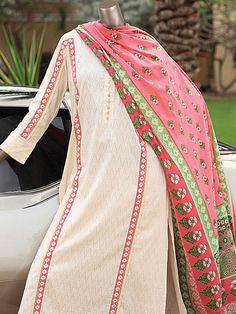 Buy Brink/Pink Embroidered Cotton Lawn Dress by Junaid Jamshed Collection 2015.