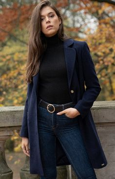 Figl Granatowy płaszcz z kołnierzem M670 Prepping, Style, Fashion, Moda, Fashion Styles, Fashion Illustrations, Stylus