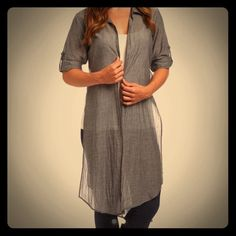 Impeccable NWT grey duster  Impeccable grey duster. Has open sides and button up in front of wanted. Purchased to match a pair of pants and color was not quite the grey I was looking for. Thanks for looking!!! Tops Tunics