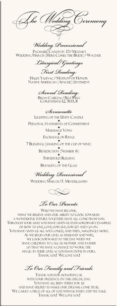 Sample Wedding Reception Program  Ceremony    Wedding