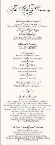 christian+wedding+programs | Ceremony | Ceremony | Pinterest ...