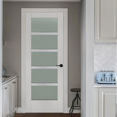 JELD-WEN 36 in. x 96 in. Moda Primed White 5-Lite Solid Core Wood Interior Door Slab with Translucent Glass Panel