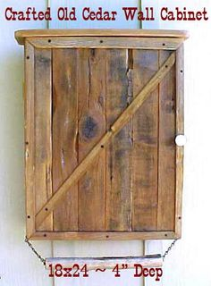 Old Cedar Wall CABINET 18 x 24'' x 4'' by OLDGLORYWOODCRAFTS, $139.95. Great size, could white wash it Rustic Bathroom Cabinet, Rustic Bathrooms, Old Fence Boards, Cedar Walls, Wood Scraps, Recycled Furniture, Outdoor Furniture, Repurposed Wood, Wood Pallets
