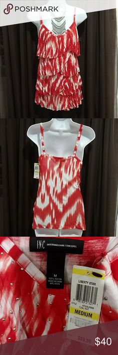 NWT INC Red & White Stripe Size M Tiered Top Super versatile  size M top with adjustable spaghetti straps. Red and white V neck tiered with small silver accent studs throughout the front. I NC Tops