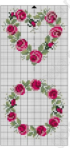 Rose wreaths free cross stitch pattern