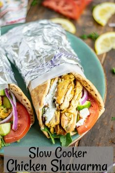 Slow Cooker Chicken Shawarma - a great healthy weeknight meal Healthy Slow Cooker, Slow Cooker Recipes, Crockpot Recipes, Chicken Recipes, Cooking Recipes, Healthy Recipes, Recipe Chicken, Slow Cooker Chicken Shawarma Recipe, Slow Cooker Chicken