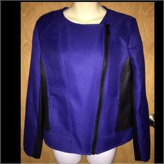 NWT Cobalt Blue with Black Leather Moto Jacket Gorgeous jacket in beautiful blue and black leather on sides. Authentic Michael Kors jacket with tags still attached. MICHAEL Michael Kors Jackets & Coats Blazers