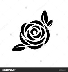 Illustration about Rose flower with leaves black silhouette logo. Illustration of petal, english, elegance - 104918596 Tattoo Stencil Designs, Rose Tattoo Stencil, Rose Stencil, Stencil Art, Flower Stencils, Flower Logo, Flower Art, Rose Icon, Stencil Patterns