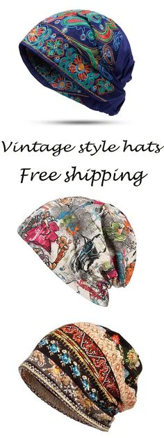 Women vintage style hats. Embroidery & Cotton & Good Elastic Breathable.