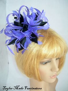 Purple & black fascinator