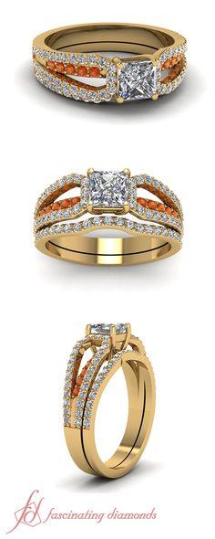 Split Loop Set    Princess Cut Diamond Wedding Sets With Orange Sapphire In 14K Yellow Gold