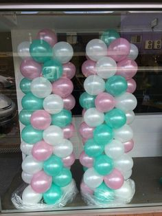 Pearl light pink, mint green and white. Balloon Backdrop, Balloon Decorations, Baby Shower Decorations, Balloon Garland, Send Balloons, Balloons Online, Pearl Baby Shower, Baby Boy Shower, Mint Quinceanera Dresses