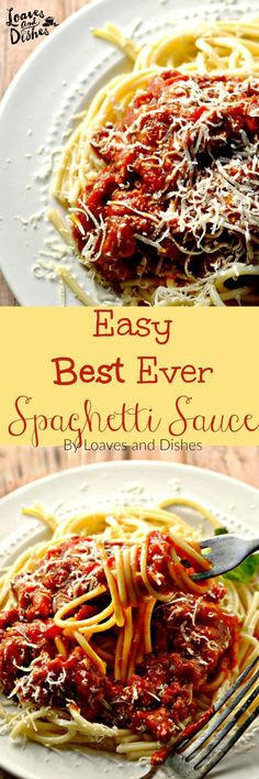 Easy Best Ever Spaghetti Sauce is so delicious and easy to make from scratch! You might not ever want canned sauce again! Take a minute and make this sauce from scratch! Sauce Recipes, Pasta Recipes, Cooking Recipes, Healthy Recipes, Dinner Recipes, Spaghetti Sauce Easy, Spaghetti Recipes, Spaghetti Bolognese, Italian Dishes