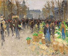The Vegetable Market At Les Halles by Pierre Eugene Montezin Paris Painting, Painting Prints, French Artists, Halle, Impressionist, Art Gallery, Instagram Images, Wall Art, Artwork