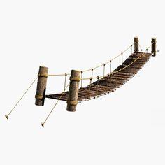 3d model rope bridge - Rope & Wood Plank Suspension Bridge... by Bondiana