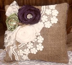 Shabby Chic Pillow, Fabric & Paper Flower Crafts