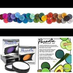 Paradise Makeup AQ Paradise Makeup AQ from our friends at @MehronMakeup is activated with a small amount of water. Some colors require a little more water some a little less. Moisten the sponge or brush and work the surface of the cake into a rich spreadable cream or desired consistency. Barrier Spray - is sold separately - can be used to remain water resistant. To remove lather with soap and rinse with water. Contact us at 585-482-8780 or terry@arlenescostumes.com for more information or… Pet Costumes, Adult Costumes, Mehron Makeup, Painting Tattoo, Costume Shop, Consistency, Costume Accessories, Animals For Kids, Bold Colors