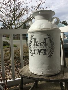 Vintage Milk Can Idea Address Monogram