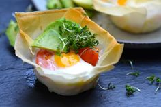 Egg cups with avocado