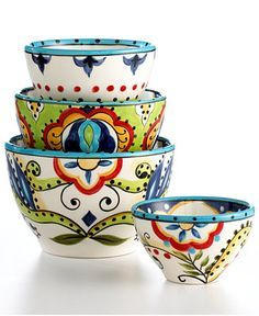 Espana Dinnerware, Bocca 4 Piece Bowl Set - Casual Dinnerware - Dining & Entertaining - Macy's Bridal and Wedding Registry Pottery Painting, Ceramic Painting, Ceramic Art, Talavera Pottery, Ceramic Pottery, Serveware, Tableware, Kitchenware, Casual Dinnerware