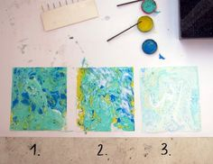 Marbling with oil paints on paper. Very simple technique that uses oil paint, turpentine, water and paper. Marble Painting, Marble Art, Diy Arts And Crafts, Paper Crafts, Pebeo Paint, Diy Papier, Classroom Crafts, Painted Paper, Paper Beads