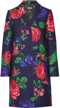 MSGM - Floral-print Wool-blend Coat - Pink