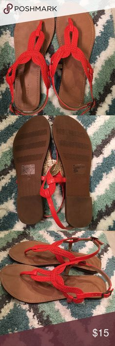 Cute orange sandals--like new! Merona. Bright orange.  Worn only once. Look brand new. No marks or signs of wear. Merona Shoes Sandals