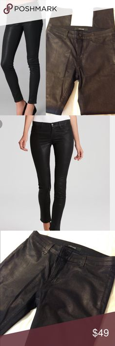 J Brand coated skinnies Subtle lack sheen coated J Brand skinny jeans. Perfect, like new condition. Size 28/6 J Brand Pants Skinny