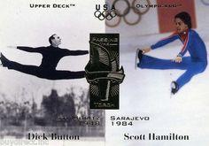 RARE 1996 UPPER DECK OLYMPICARD PASSING THE TORCH DICK BUTTON & SCOTT HAMILTON