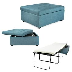 iBED convertible ottoman guest bed is a beautiful piece of furniture that is at home in any living room, apartment, or dorm. Transforms from ottoman to pull out bed in an instant. Thousands of satisfied customers have been amazed at how well they sle Sleeper Ottoman, Ottoman Bed, Upholstered Ottoman, Sleeper Chair, Sofa Beds, Couches, Furniture Decor, Living Room Furniture, Travel