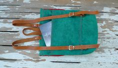 Green Waxed Canvas  Mini Backpack  with Adjustable Leather Strap / School / Travel. $69.00, via Etsy.