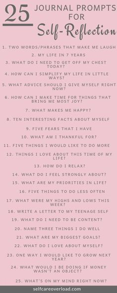 25 Journal Prompts For Self-Reflection - Self-Care Overload - - Journaling is the necessary tool to release your inner thoughts. These Journal Prompts for self-reflections will increase your knowledge on yourself. Journal Inspiration, Journal Ideas, Journal Writing Prompts, Bullet Journal Prompts, Art Journals, Bullet Journal Questions, Gratitude Journals, Art Prompts, Self Care Bullet Journal