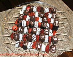 Shish Kabobs: strawberry, ho ho, marshmallow, chocolate drizzle