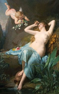 L'Amour de la Nymphe by Louis Emile Adan (The Love of the Nymph), oil on canvas Pre Raphaelite, Oil Painting Reproductions, A4 Poster, Vintage Artwork, Old Master, French Artists, Cupid, Impressionism, Oil On Canvas