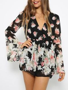 Shop Choies Design Limited Black Floral Frint Romper Playsuit With Long Flare Sleeves from choies.com .Free shipping Worldwide.