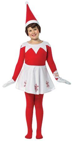 ELF ON A SHELF GIRL 7-10  sc 1 st  Pinterest & Super easy Elf on the Shelf costume. Red shirt u0026 leggings Santa hat ...