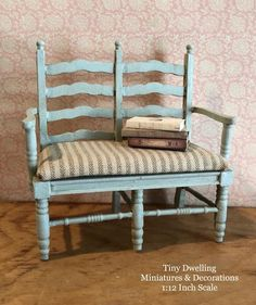 miniature furniture Miniature Double Bench Lovely Bench with Ticking Cushion Seat. Featured in Color Swedish Blue. Features: All Wood Construction. Repurposed Furniture, Cheap Furniture, Furniture Projects, Furniture Making, Furniture Makeover, Furniture Stores, Inexpensive Furniture, Furniture Websites, Luxury Furniture