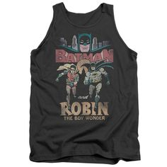 Batman Classic Tv/Classic Duo Adult Tank in Charcoal