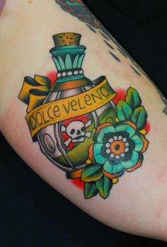 Poison Bottle Tattoo by Miss Arianna
