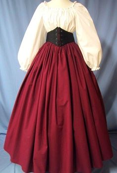 This lovely Long Skirt is Perfect for wearing for a Renaissance Faire, Pirate Wench, Victorian, Dickens or Civil War Costume Events. Victorian Costume, Renaissance Costume, Renaissance Dresses, Medieval Clothing, Renaissance Fair, Cosplay Make-up, Medieval Dress Pattern, Vintage Dresses, Vintage Outfits