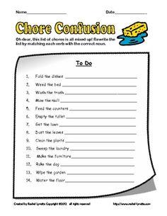 FREE: Chore Confusion - Fun verb and noun sponge activity