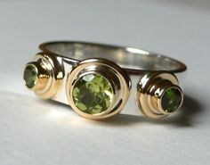 Bauble Ring with Peridot and Green Tourmaline